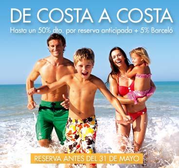 De costa a costa Hasta un 50% dto. + 5% dto. Barceló